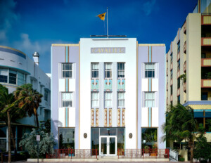 The art deco façade of the Cavalier Hotel, located in South Beach, FL, includes pastel colors, repetitive geometry, and wave crest motifs.