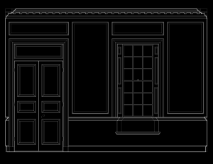 Line art image of Chesapeake Colonial style wall elevation featuring door mouldings and window mouldings.