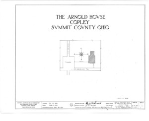 Blueprint cover page by the American Building Survey describing the Arnold house erection date, address, and architect information.