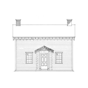 Line art of Arnold house featuring shingle siding, window mouldings, door mouldings, and two chimneys.