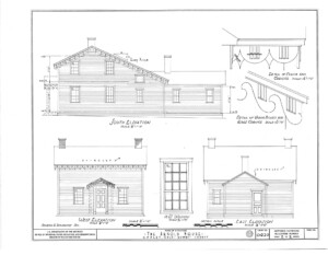 Blueprint of Arnold house south, east, and west elevations, along with cornice mouldings.