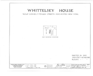 Blueprint cover page by the American Building Survey describing the campbell-whittlesey erection date, address, and architect information.