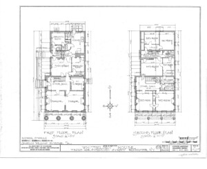 Blueprint of Campbell Whittlesey house first floor plan, and second floor plan.
