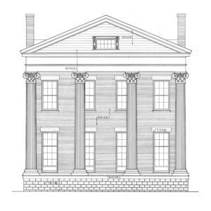 Front face of campbell-whittlesey house featuring a brick foundation, four pillars, cornice mouldings, and window mouldings.