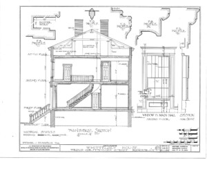Floor elevation of Campbell Whittlesey house featuring door mouldings, staircase, and staircase railing.