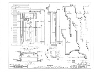 Blueprint of moulding profiles for the main entrance of the campbell-whittlesey house.