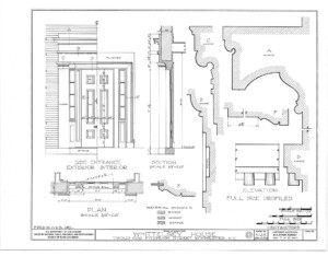 Blueprint of moulding profiles for the side entrance exterior and interior of the campbell-whittlesey house.