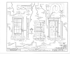 Blueprint of campbell-whittlesey house window casings for the front bedrooms, and the main hall on first and second floor.