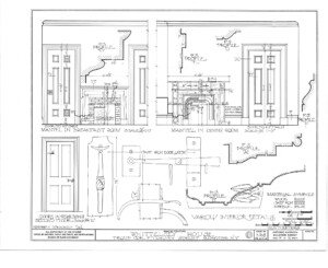 Blueprint of campbell-whittlesey house mantles for the breakfast room, and dining room.