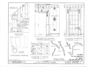 Campbell-whittlesey house blueprint featuring an elevation for mantle in parlor, window in parlor, doorways between parlors, and stair details.