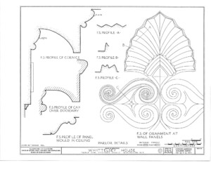 Blueprint of campbell-whittlesey house profiles including cornice profiles, cap over doorway profiles, and panel mold in ceiling profiles.