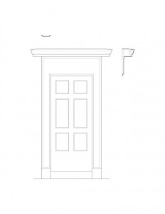 Line art of Arnold house door featuring panel molds, and cornice molds.