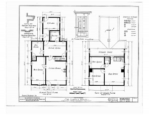 Blueprint of first floor and second floor in the Arnold house.