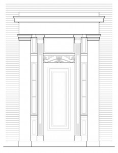 North entrance door moulding elevation of campbell-whittlesey house featuring column mouldings and panel molds.