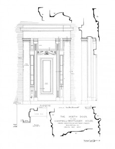 North door elevation of the campbell-whittlesey house showcasing column mouldings,panel moulds, window, and cornice mouldings.