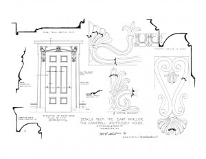 Elevation of south door in the campbell-whittlesey house featuring cornice mouldings and door trim.