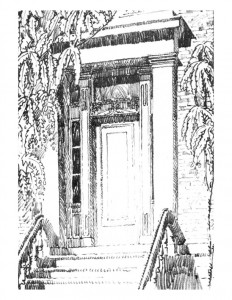 Drawing of Campbell-Whittlesey house doorway with column mouldings, panel molds, casing, and steps to entrance.
