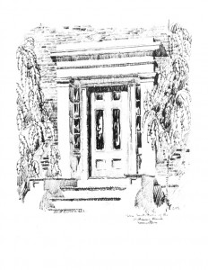 Drawing of Campbell-Whittlesey house doorway with mouldings, casing, door windows, and steps to entrance.