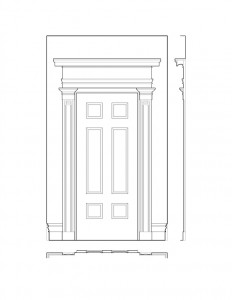 Hall door elevation of the campbell-whittlesey house featuring panel molds, baseboards, and cornice mouldings.