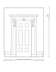 South door elevation of the campbell-whittlesey house featuring panel molds, baseboards, and cornice mouldings.