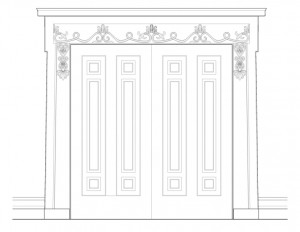 West double doors elevation of the campbell-whittlesey house featuring panel molds, and baseboards.