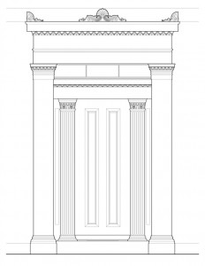 Line art of Hervey Ely house main entrance featuring column mouldings, and panel mouldings.