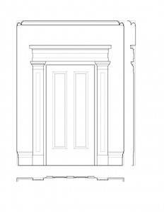 Line art of Hervey Ely house hall door featuring column mouldings, and panel mouldings.