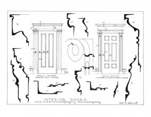 Elevation of Hervey Ely house interior doors compared to Cambell-Whittlesey house doors featuring door sizes, and door mouldings.