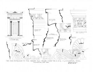 Elevation of main entrance for the Hervey Ely house.