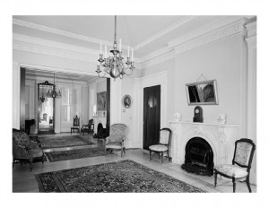 Interior of Hervey Ely house featuring door mouldings, window mouldings, and interior cornice mouldings.