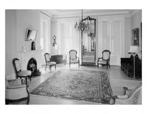 Interior of Hervey Ely house featuring window mouldings, and interior cornice mouldings.