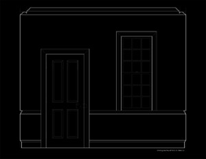 Line art image of colonial revival style wall elevation featuring door mouldings and window mouldings.