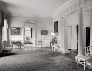 Interior of a geogrian style room featuring balustrades, door mouldings, interior cornice mouldings, and a hardwood floor.