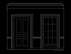 Line art of wall elevation featuring georgian style door mouldings and window mouldings.