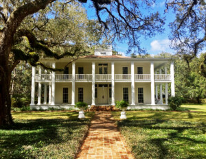 Greek revival southern plantation style featuring window mouldings, door mouldings, and steep roof.