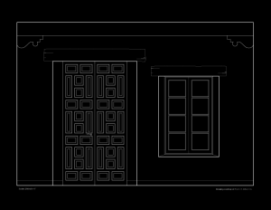 Line art of wall elevation featuring spanish colonial style door mouldings, and window mouldings.