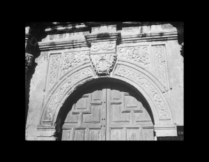 Spanish colonial style door moulding with different spanish designs.