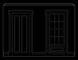 Line art of wall elevation featuring greek revival southern plantation style door mouldings and window mouldings.