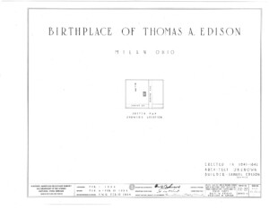 Blueprint cover page by the American Building Survey describing the birthplace of Thomas Edison house erection date, address, and architect information.