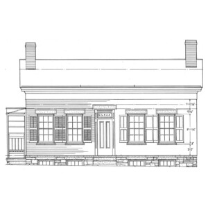 Line art of birthplace of Thomas Edison house featuring window mouldings, door mouldings, and two chimneys.