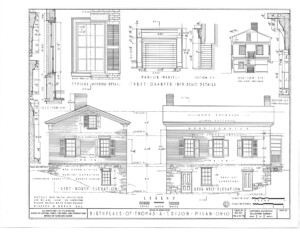 Birthplace of Thomas Edison house with side north elevation, rear west elevation, along with parlor mantel and typical window mouldings.