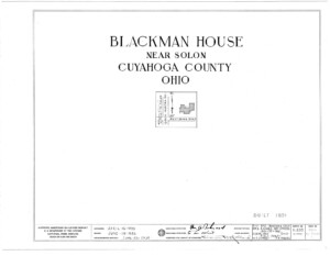 Blueprint cover page by the American Building Survey describing the Blackman house erection date, address, and architect information.
