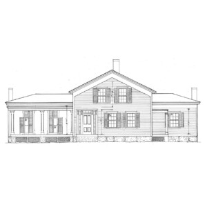 Line art of Blackman house with windows and shutters, columns, covered porch, and door casing.