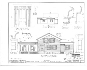 Blueprint for the Blackman house featuring front door elevation, north elevation, and the east elevation.