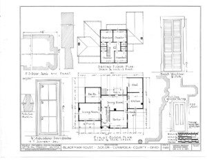 Blueprint for the Blackman house featuring first floor plan, second floor plan, along with french window mouldings and door jamb mouldings.
