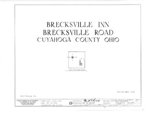 Blueprint cover page by the American Building Survey describing the Brecksville Inne house erection date, address, and architect information.