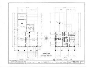 Blueprint for the Brecksville Inne house featuring first floor plan, and second floor plan.