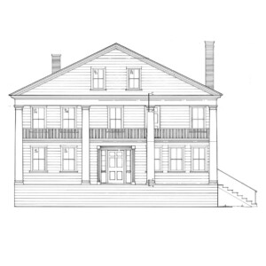 Line art of Brecksville Inne house with covered porch on first and second floor featuring columns, window casing, and door casing mouldings.