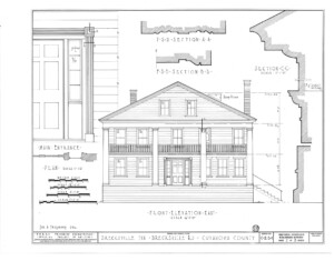 Blueprint for the Brecksville Inne house showcasing front elevation east, featuring the main entrance door, door mouldings, and window casing.