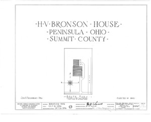 Blueprint cover page by the American Building Survey describing the Bronson house erection date, address, and architect information.